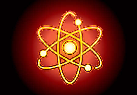 Atom structure model with nucleus surrounded by electrons. Technological concept of nuclear power. Vector illustration