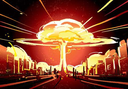 Nuclear bomb explosion illustration 矢量图像