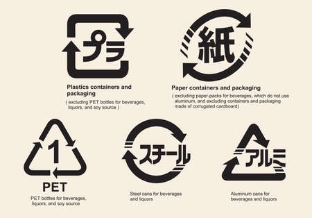 Japanese recycling symbol for containers and packaging, vector illustration