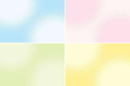 retro comic background raster gradient halftone set, vector