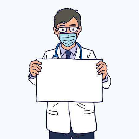 Doctor wearing face mask and hold a blank board, vector illustration