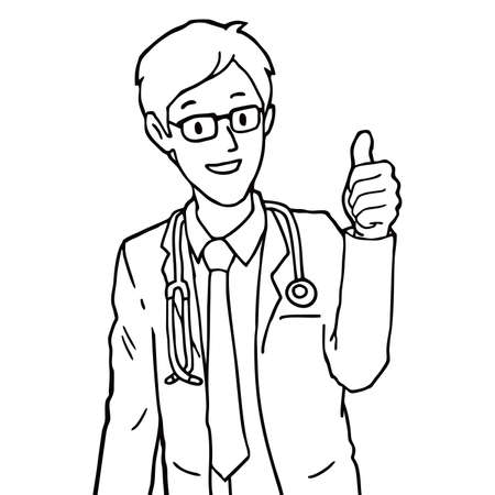 Doctor making thumbs up sign, illustration vector
