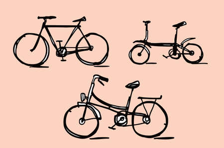 Bicycle and bike illustration doodle sketch drawing, vector