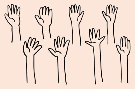 Hand up illustration doodle sketch drawing, vector