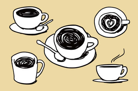 Coffee cup illustration doodle sketch drawing, vector Stock Illustratie
