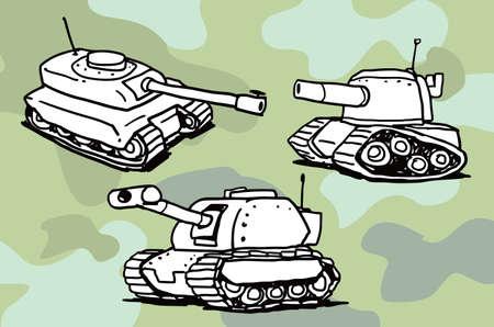 Tank illustration doodle sketch drawing, vector