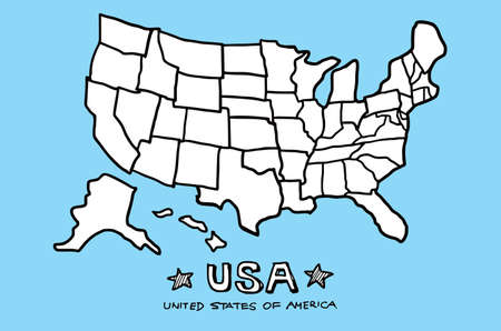 United States of America , USA map illustration doodle sketch drawing, vector