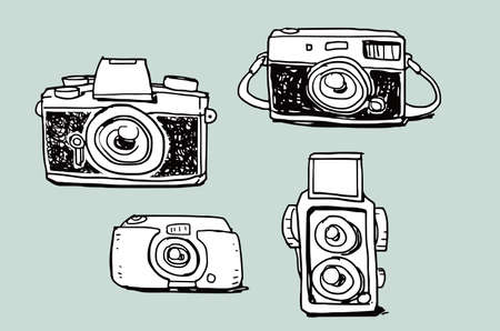 Camera illustration doodle sketch drawing, vector Stock Illustratie