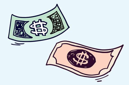 Money and dollar illustration doodle sketch drawing, vector