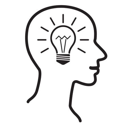 human head thinking a new idea, illustration vector Banco de Imagens - 151859869
