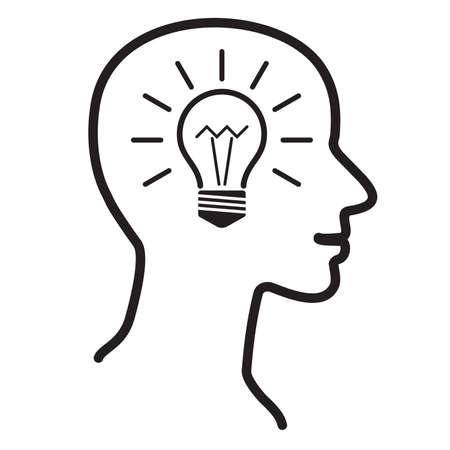 human head thinking a new idea, illustration vector  イラスト・ベクター素材