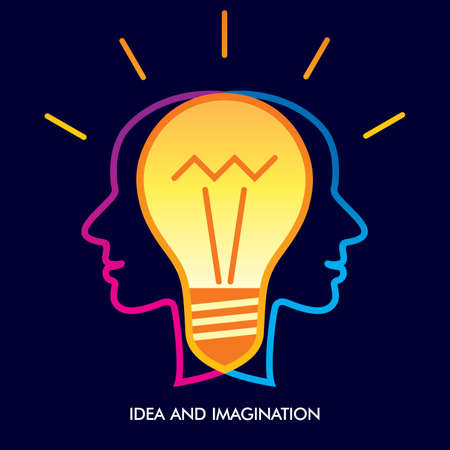 human head brainstorm and thinking a new creative idea, illustration vector