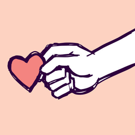 friendly hand holding a heart with love. illustration doodle sketch drawing, vector
