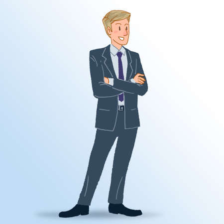 Young businessman standing portrait illustration Stockfoto