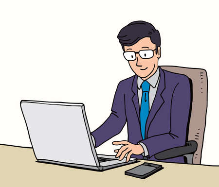 Businessman working with laptop computer and mobile phone, illustration character, draw, sketch, doodle style. Banco de Imagens - 153876239
