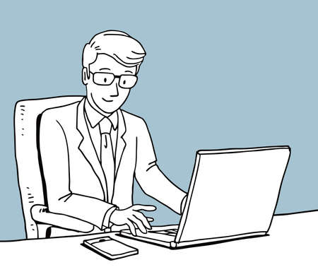 Businessman working with laptop computer and mobile phone, illustration character, draw, sketch, doodle style. Banco de Imagens - 153876240