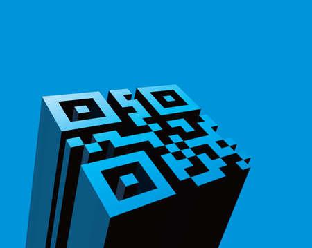 QR code in 3D illustration, Vector Ilustração