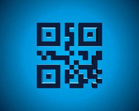 QR code in 3D illustration