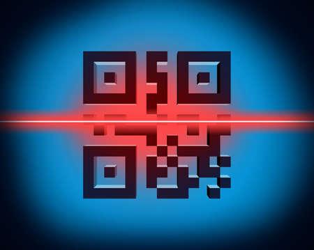 Scanning QR code in 3D illustration Banco de Imagens