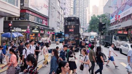 Wan Chai, Hong Kong - 02 October, 2019 : Public transport in Wan Chai district. Wan Chai is one of the busiest commercial areas in Hong Kong