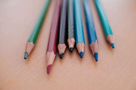 Color pencil on wood table Banco de Imagens - 158633860