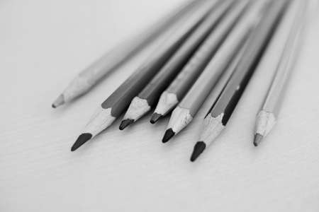 Black and white pencil on wood table Banco de Imagens - 158734182