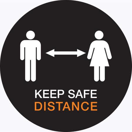 Keep distance stop Covid-19 signage icon Banco de Imagens