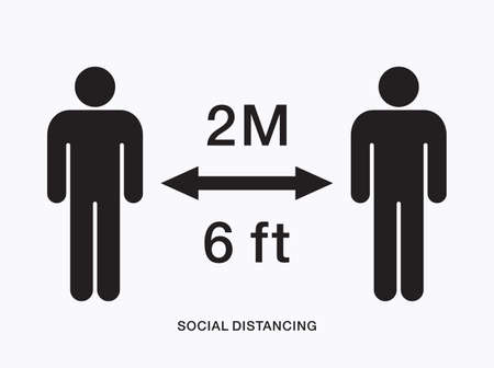 Social distancing icon. Keep distance stop Covid-19 signage icon