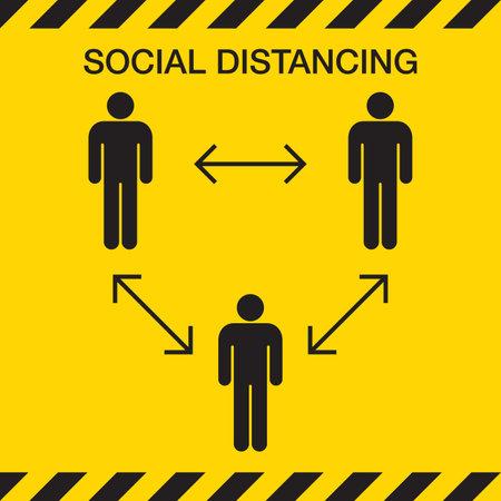 Social distancing icon. stop Covid-19 signage icon Banco de Imagens