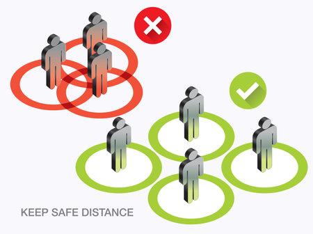 Social distancing icon. stop Covid-19 signage icon Banco de Imagens - 160250100