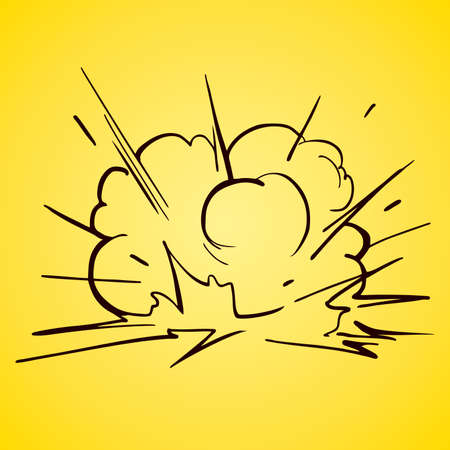 The explosion on a yellow background illustration