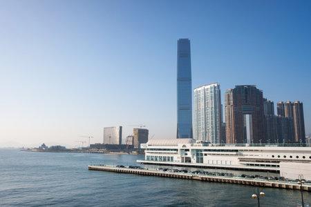 Hong Kong - 13 December 2019: International Commerce Center, the tallest building in Hong Kong. Modern building. Editorial