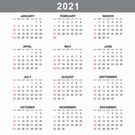 Calendar for 2021 isolated on a white background. Sunday to Monday, business template. Vector illustration Banco de Imagens
