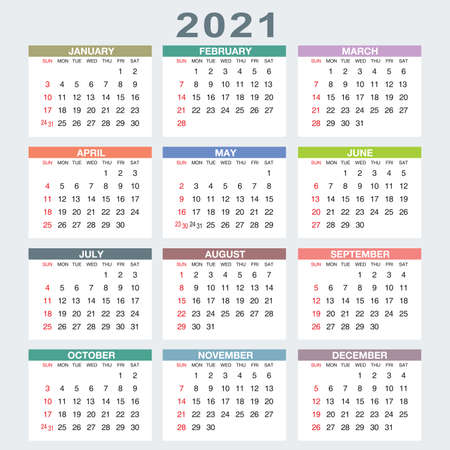 Calendar for 2021 isolated on a white background. Sunday to Monday, business template. Vector illustration Banco de Imagens - 161329107