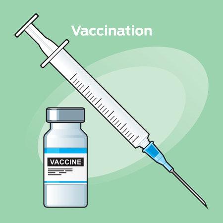 Vaccination, Covid-19 coronavirus vaccine. Syringe and vaccine vial flat icons. Treatment for coronavirus covid-19. Isolated vector illustration