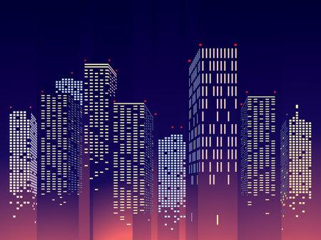 Abstract City Building Scene, vector illustration Banco de Imagens