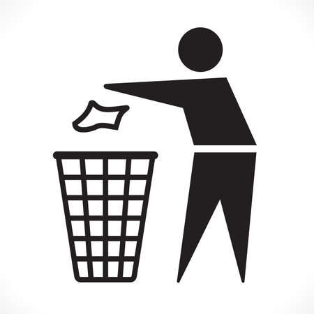 Recycle symbol, Stick man throwing trash into the garbage can Ilustração