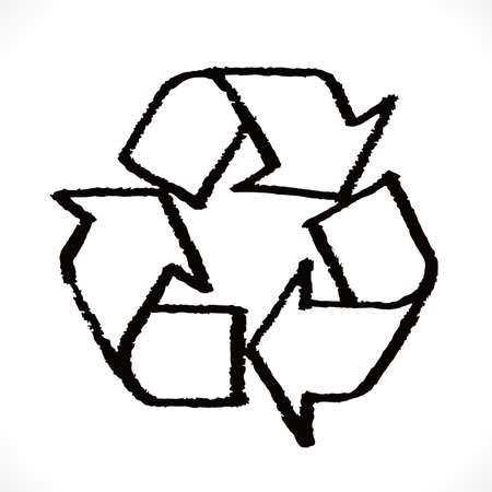 Sketch doodle recycle reuse reduce symbol isolated. Recycle icon sign for ecological. Hand-drawn style vector
