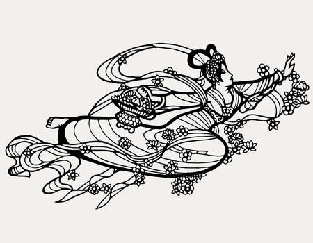 chinese paper art fairy abstract graphicackground wallpaper