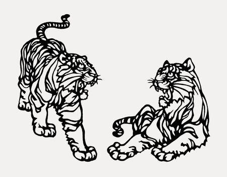 chinese paper art tiger abstract graphic