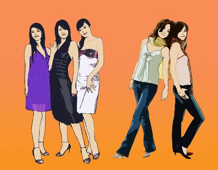 clip-art fashion girl model computer drawing Stock Photo - 699576