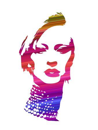 여자 얼굴 추상 모험 디자인 작품