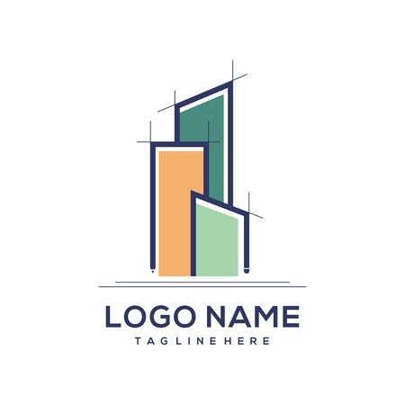 Logo d'architecture et de construction de bâtiments pour une image de marque personnelle ou un logo d'entreprise