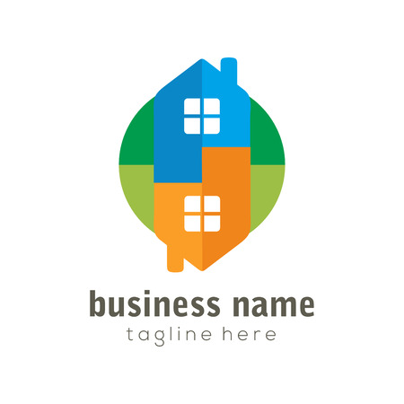Home Flipping Real Estate logo and icon design suitable for your business, company and personal branding