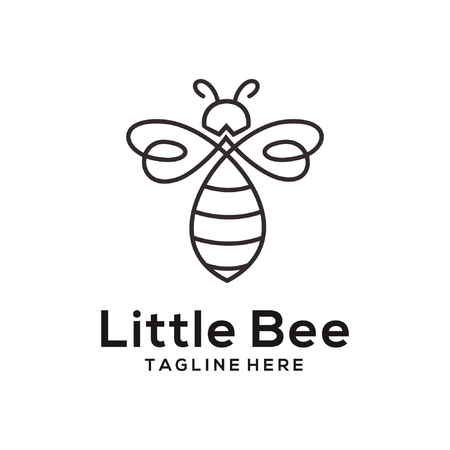 litle bee animal logo and icon design suitbale for your business, company and personal branding