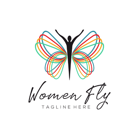 Women fly rainbow logo and icon design suitable for your business, company and personal branding