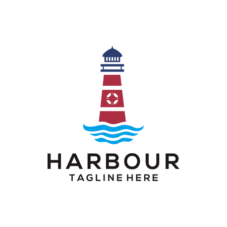 Harbour beach sea logo and icon design suitable for your business, company and personal branding Illustration