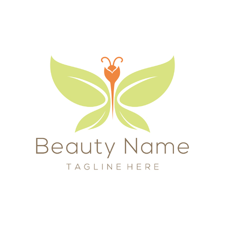 beauty leaf butterfly logo and icon design suitable for your business, company and personal branding