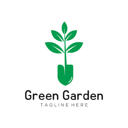 green leaf garden logo and icon design suitable for your business, company and personal branding