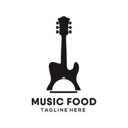 Music restaurant food logo and icon design suitable for your business, company and personal branding